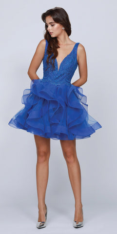 V-Neck Ruffled Short Homecoming Dress Royal Blue