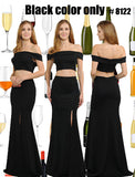 Black Two-Piece Long Prom Dress Off-Shoulder with Slit