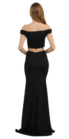 Off-Shoulder Mermaid Long Prom Dress Two-Piece Black