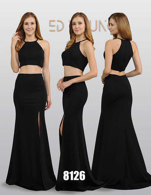 Halter Black Two-Piece Long Prom Dress with Slit