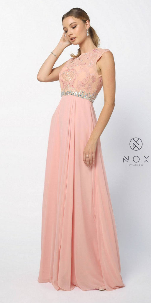 Nox Anabel 8128 Gorgeous Chiffon A Line Prom Gown Bashful Pink Cap Sleeves