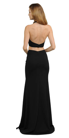 V-Neck Crop Top Two-Piece Black Long Prom Dress