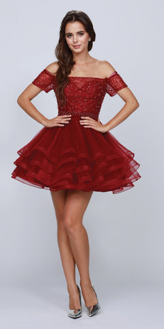 Tiered Skirt Off-Shoulder Homecoming Short Dress Burgundy