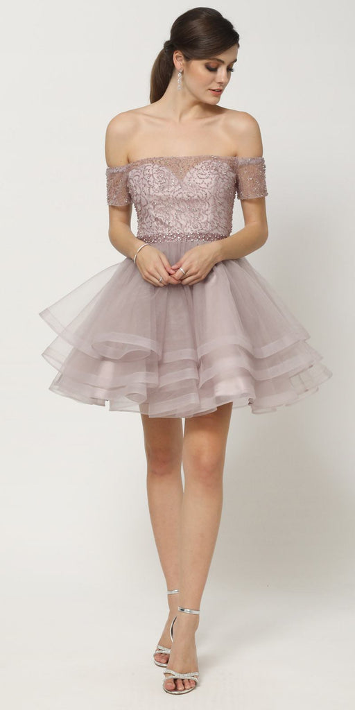 Short Tiered Skirt Off-Shoulder Silver Homecoming Dress