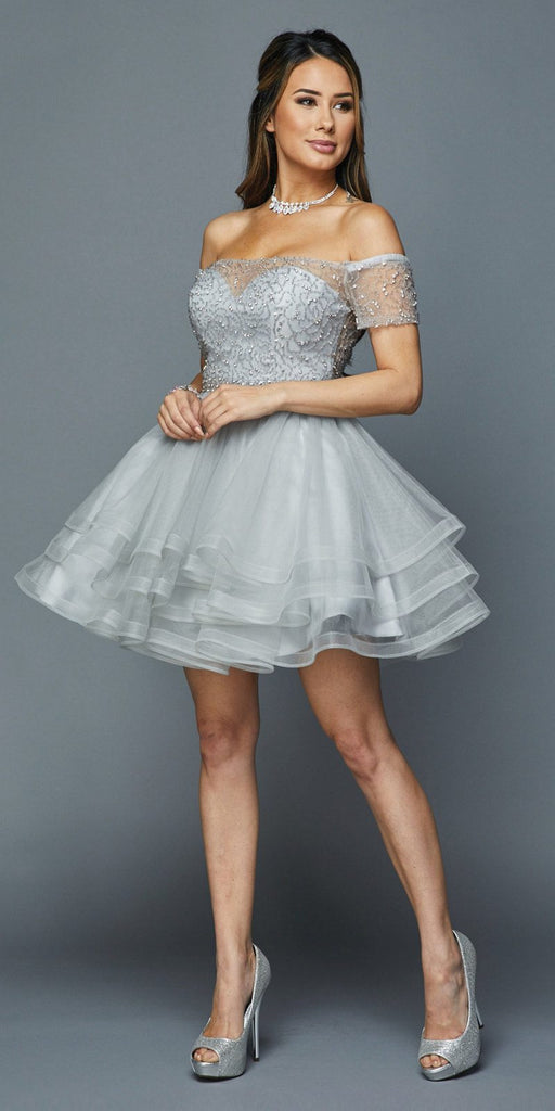 Tiered Skirt Off-Shoulder Homecoming Short Dress Silver