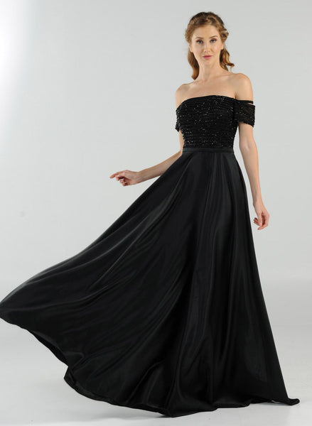 Black Off-the-Shoulder Beaded Long Prom Dress with Pockets