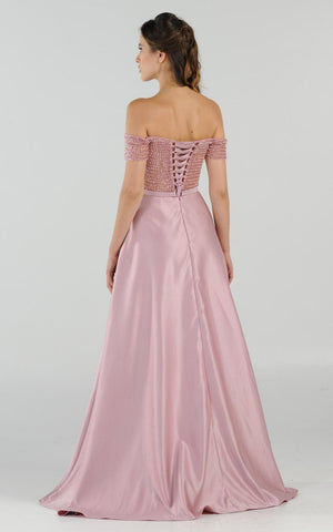 Mauve Off-the-Shoulder Beaded Long Prom Dress with Pockets