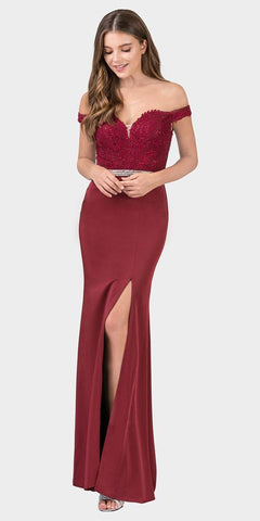 Burgundy Off-Shoulder Mermaid Long Prom Dress with Slit