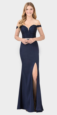 Navy Blue Off-Shoulder Mermaid Long Prom Dress with Slit