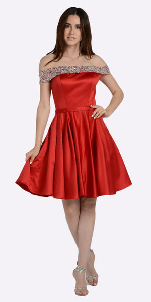 Red Off Shoulder A-Line Homecoming Satin Dress with Pockets