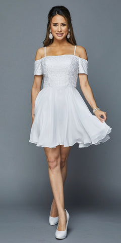White Homecoming Short Dress with Cold-Shoulder