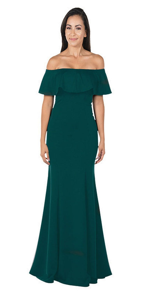 Green Off-the-Shoulder Mermaid Long Formal Dress