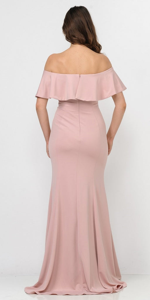 Rose Gold Off-the-Shoulder Mermaid Long Formal Dress