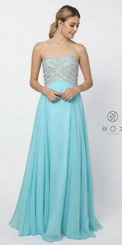 Poofy Prom Ball Gown Aqua Floor Length Strapless Sequins