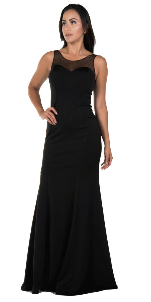 Illusion Round Neckline Sleeveless Long Formal Dress Black