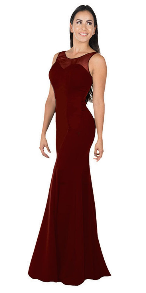 Illusion Round Neckline Sleeveless Long Formal Dress Burgundy