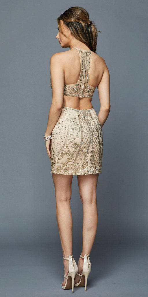 Halter Fitted Short Homecoming Dress Cut-Out Back Champagne