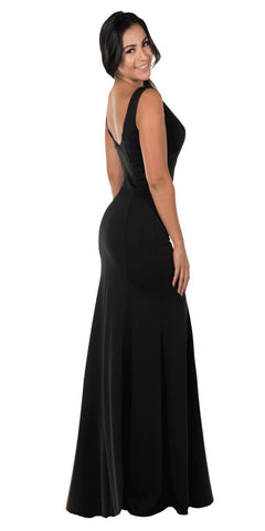 V-Neck and Back Black Evening Gown Sleeveless
