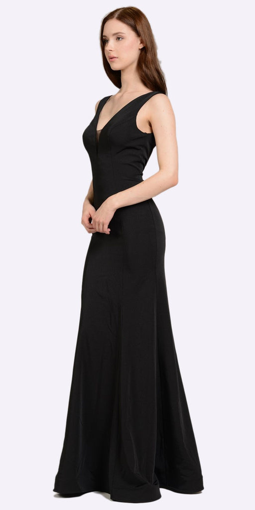Poly USA 8152 V-Neck and Back Black Evening Gown Sleeveless