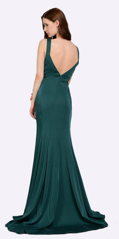 Poly USA 8152 V-Neck and Back Green Evening Gown Sleeveless