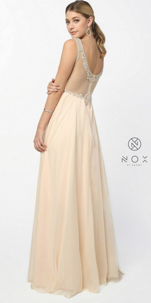 Nox Anabel 8155 Formal A Line Prom Gown Nude Chiffon A Line Bateau Neck