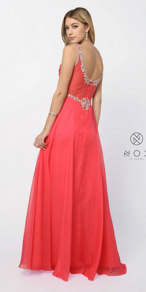 Nox Anabel 8155 Formal A Line Prom Gown Watermelon Chiffon A Line Bateau Neck