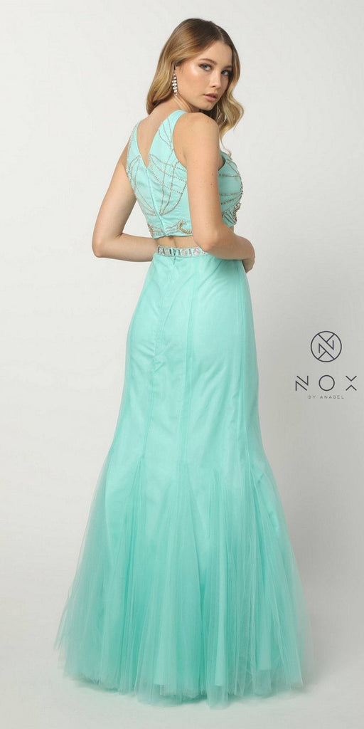 Nox Anabel 8156 Hot Trend Two Piece Prom Gown Mint Green Mermaid Tulle Skirt