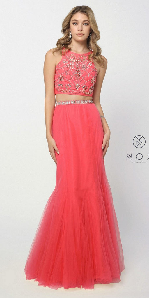 Nox Anabel 8156 Hot Trend Two Piece Prom Gown Watermelon Mermaid Tulle Skirt