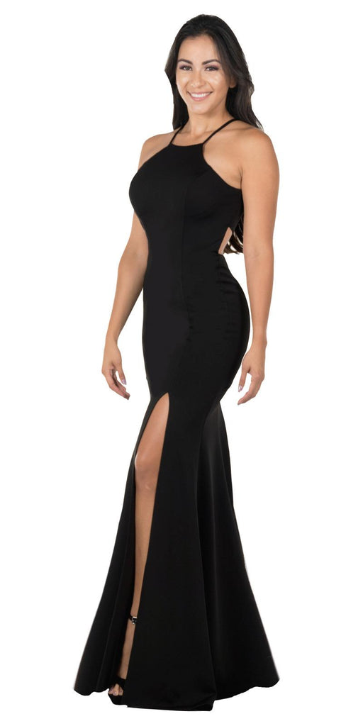 Black Halter Long Formal Dress Cut-Out Back with Slit