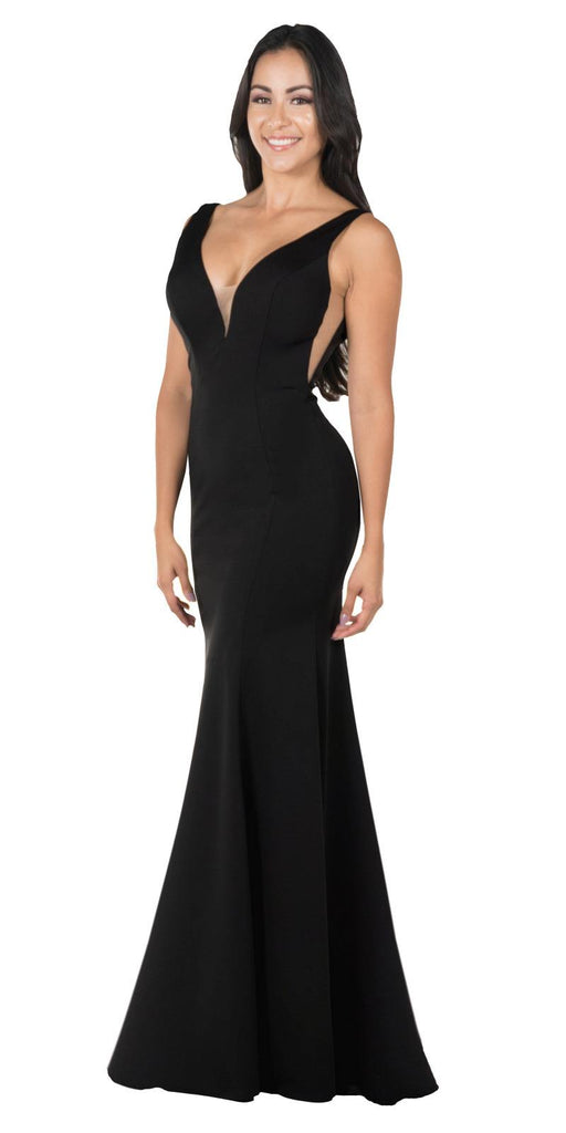Deep V-Neck and Back Mermaid Long Formal Dress Black