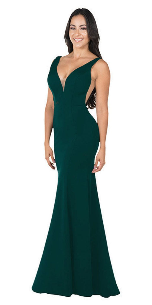 Deep V-Neck and Back Mermaid Long Formal Dress Green