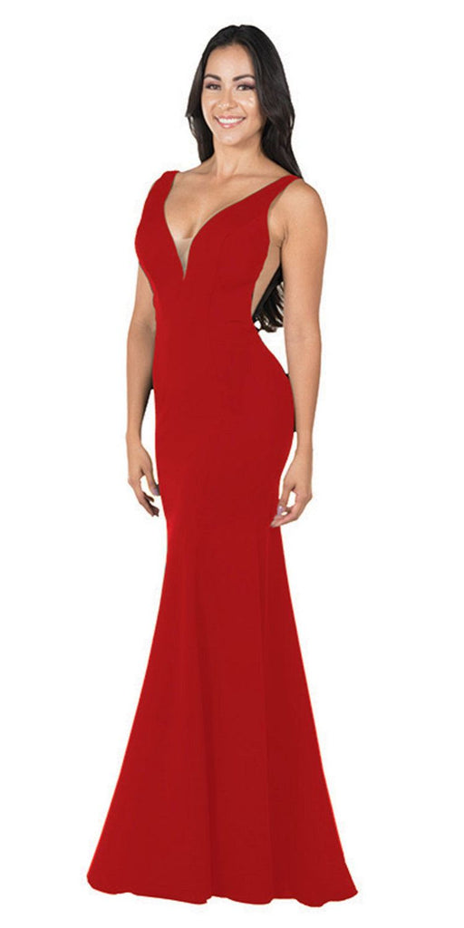Deep V-Neck and Back Mermaid Long Formal Dress Red