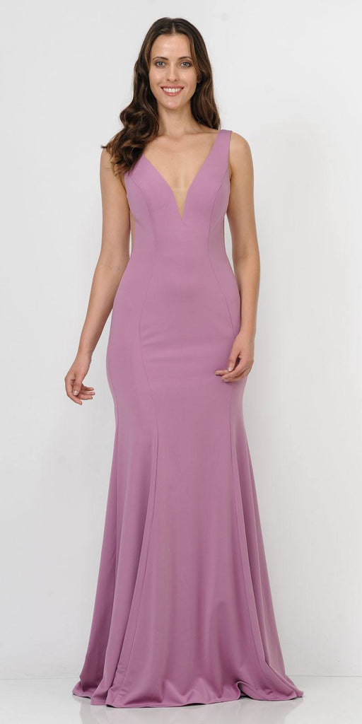 Deep V-Neck and Back Mermaid Long Formal Dress Violet