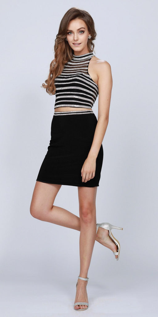 Black Two-Piece Short Party Dress Keyhole Back