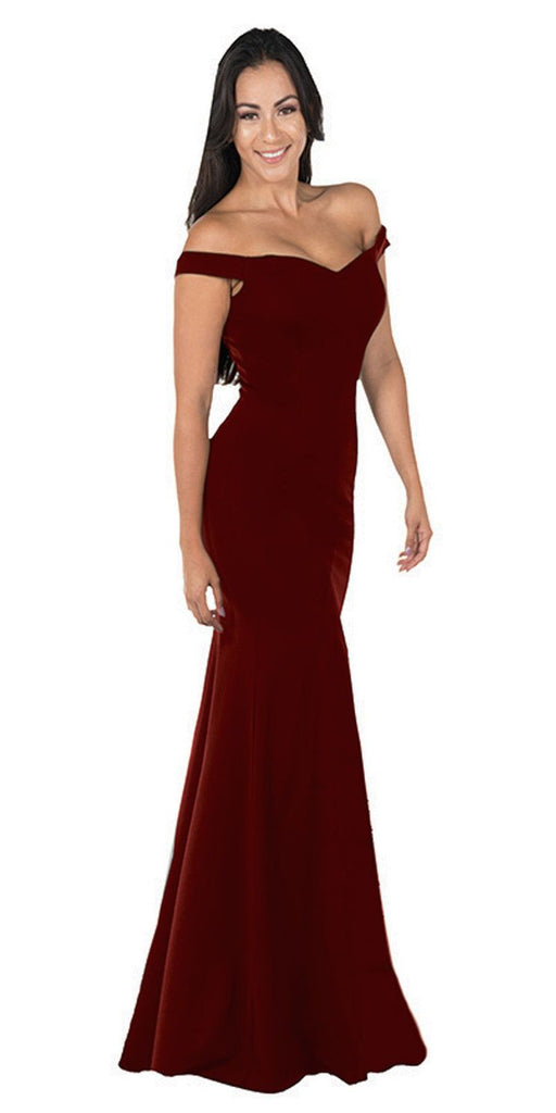 Burgundy Off-the-Shoulder Mermaid Long Prom Dress