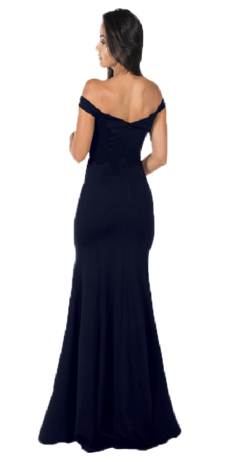 Navy Blue Off-the-Shoulder Mermaid Long Prom Dress