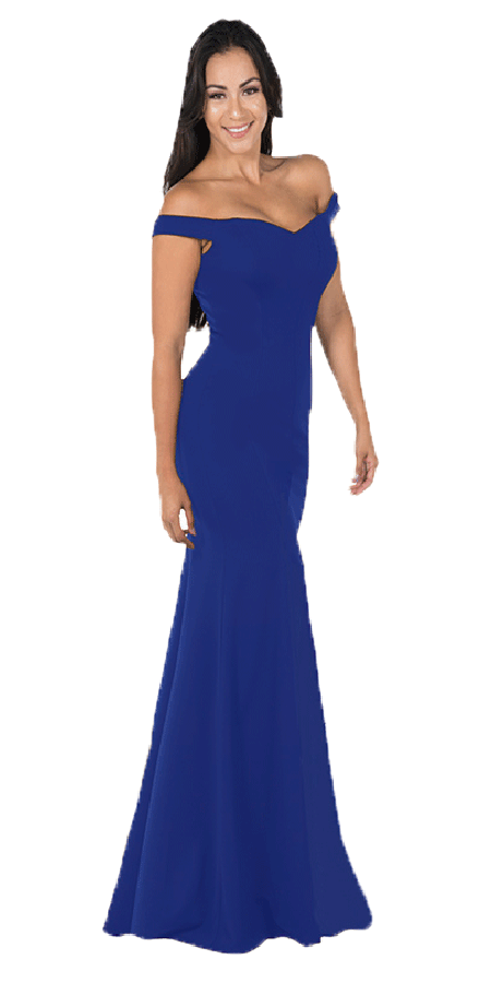 Royal Blue Off-the-Shoulder Mermaid Long Prom Dress