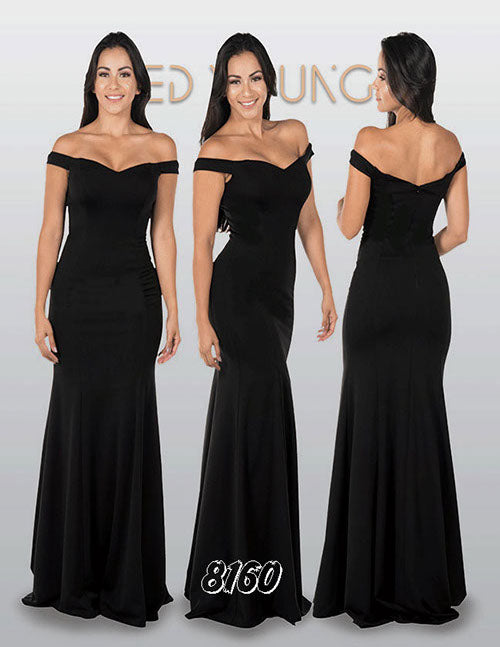 Black Off-the-Shoulder Mermaid Long Prom Dress