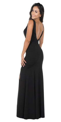 Black Long Formal Dress with Sheer Side Cut-Outs and Slit