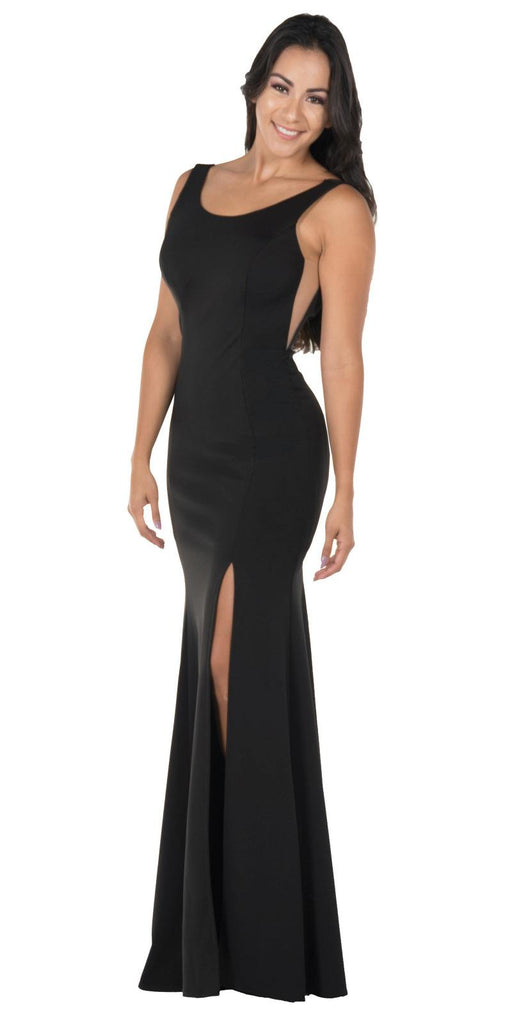 Poly USA 8168 Black Long Formal Dress with Sheer Side Cut-Outs and Slit