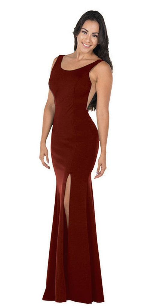 Poly USA 8168 Burgundy Long Formal Dress with Sheer Side Cut-Outs and Slit