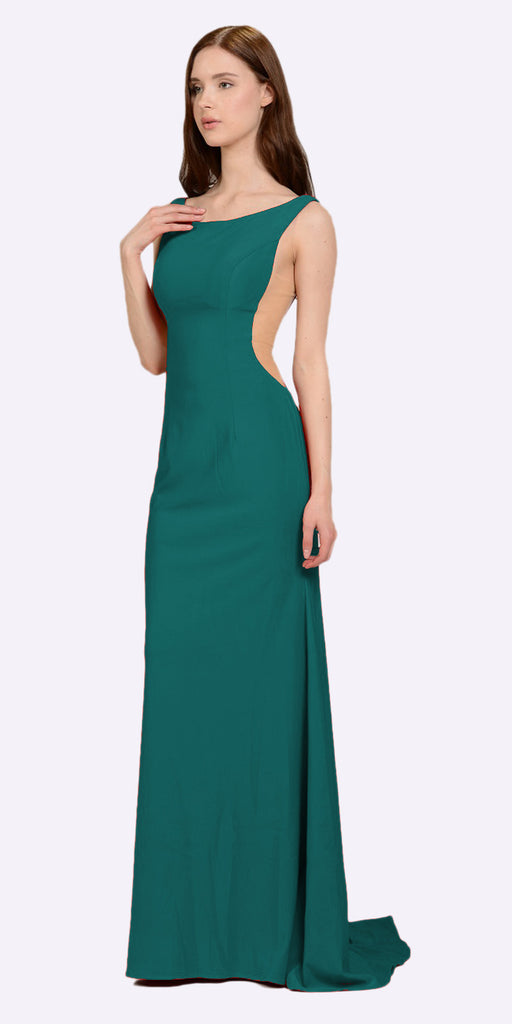 Poly USA 8168 Green Long Formal Dress with Sheer Side Cut-Outs and Slit