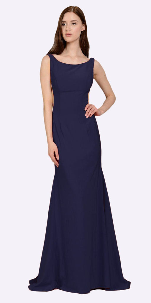 Poly USA 8168 Navy Blue Long Formal Dress with Sheer Side Cut-Outs and Slit