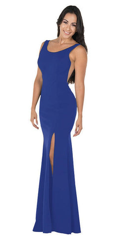 Poly USA 8168 Royal Blue Long Formal Dress with Sheer Side Cut-Outs and Slit