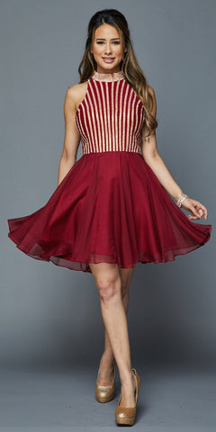 Halter High-Neckline Embellished Bodice Short Prom Dress Burgundy