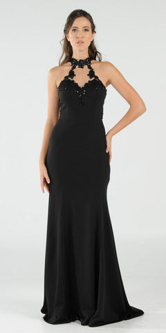 Black Halter Appliqued Mermaid Prom Gown Cut-Out Back