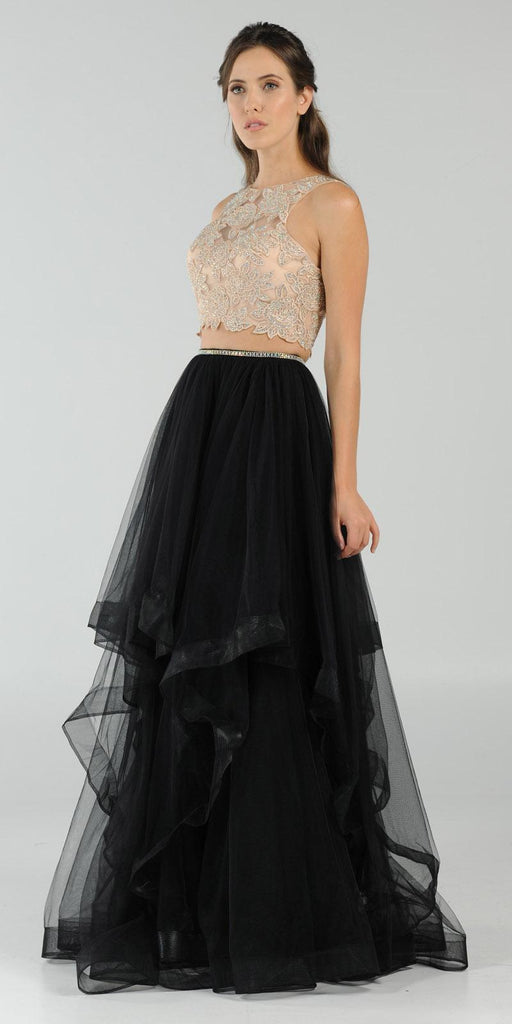 Two-Piece Prom Gown Appliqued Crop Top Tiered Skirt Black