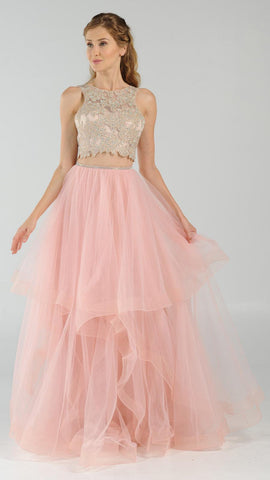Two Piece Illusion Bodice Long Prom Dress Watermelon Chiffon