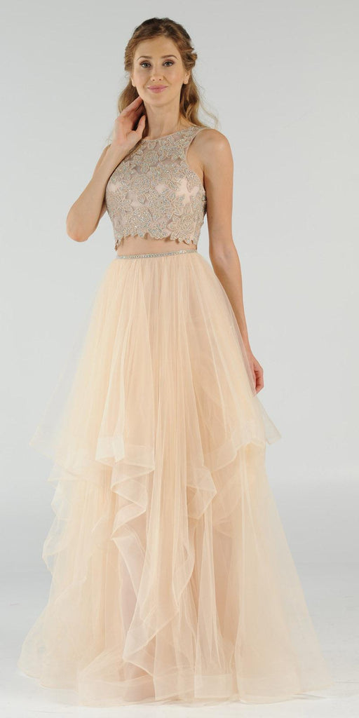 Two-Piece Prom Gown Appliqued Crop Top Tiered Skirt Champagne