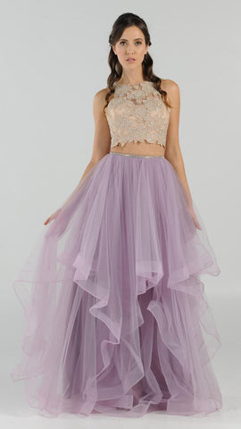Two-Piece Prom Gown Appliqued Crop Top Tiered Skirt Mauve